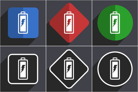 Battery set of flat design web icons in 6 options Stock Photo - 124116753