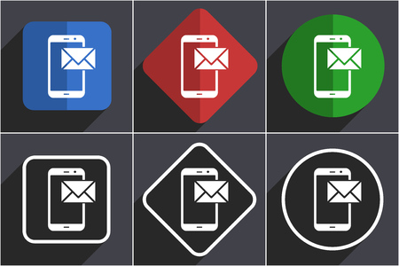 Mail set of flat design web icons in 6 options