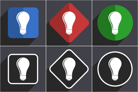 Bulb set of flat design web icons in 6 options Stock Photo