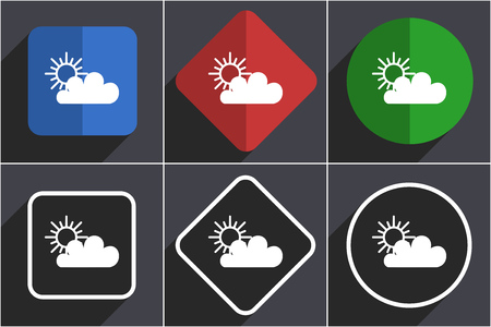 Cloud set of flat design web icons in 6 options
