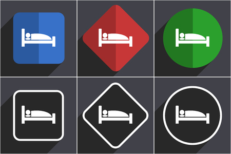 Hotel set of flat design web icons in 6 options