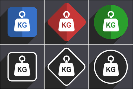 Weight, kg, kilogram flat design icons with shadows Stock Photo