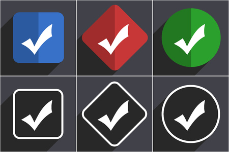 Accept set of flat design web icons in 6 options