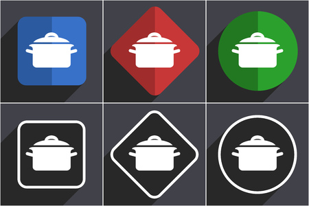 Cook set of flat design web icons in 6 options