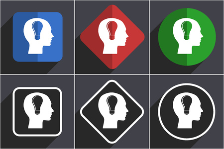 Head set of flat design web icons in 6 options