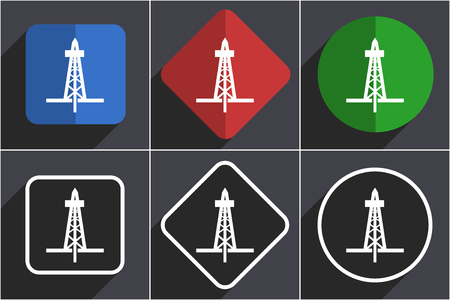 Drilling set of flat design web icons in 6 options