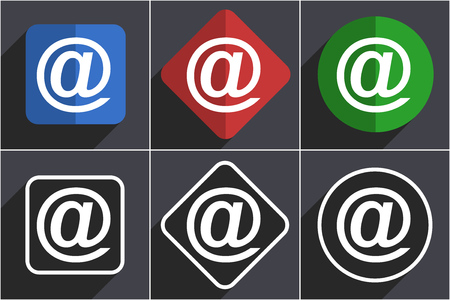 Email set of flat design web icons in 6 options