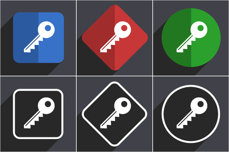 Key set of flat design web icons in 6 options