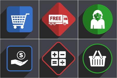 Business  icons, flat design online internet shop buttons Ilustrace