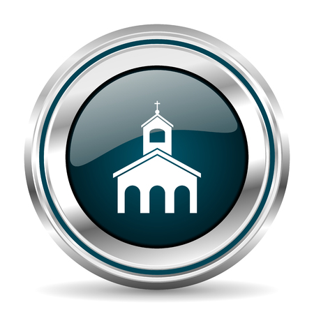 Religion, church vector icon. Chrome border round web button. Silver metallic pushbutton