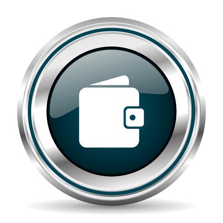 Sac à main, icône de vecteur de portefeuille. Bouton web rond de bordure Chrome. Bouton poussoir métallisé argent