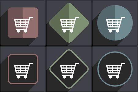 Shopping cart flat vector icons set