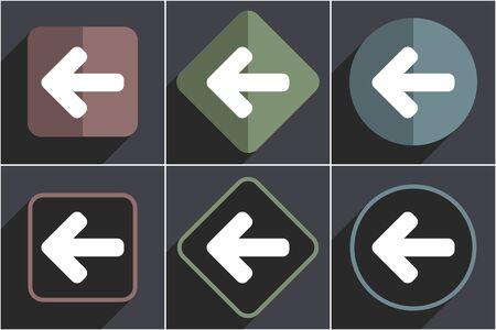 Left arrow flat vector icons set
