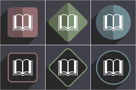 Book flat vector icons set Illustration