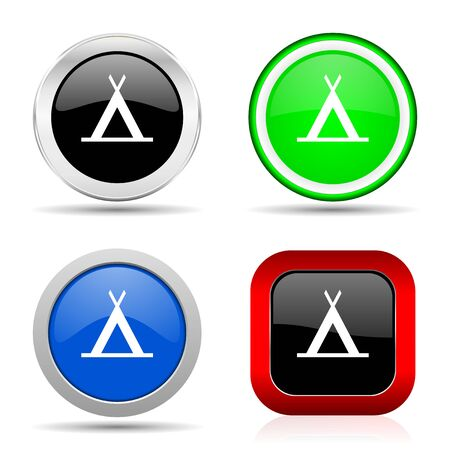 Camp red, blue, green and black web glossy icon set in 4 options Stok Fotoğraf