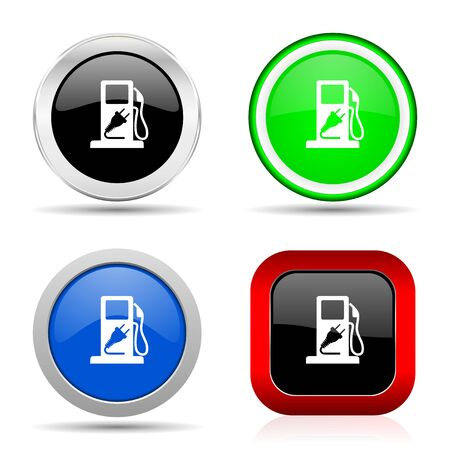 Fuel red, blue, green and black web glossy icon set in 4 options Stockfoto