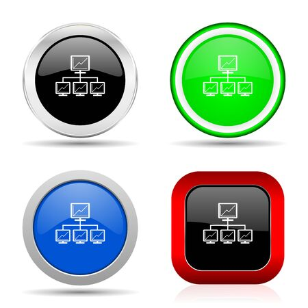 Network red, blue, green and black web glossy icon set in 4 options 写真素材