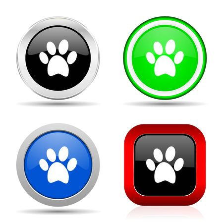 Foot red, blue, green and black web glossy icon set in 4 options Reklamní fotografie