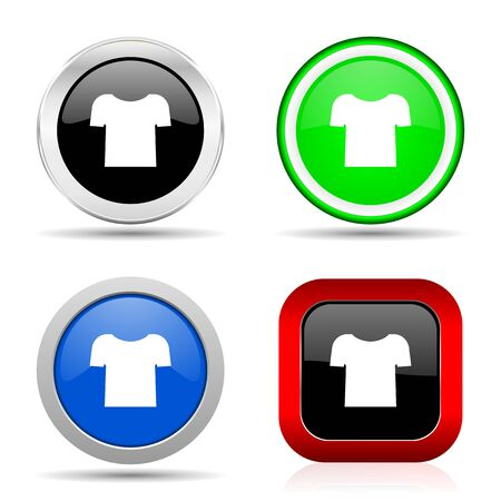 Shirt red, blue, green and black web glossy icon set in 4 options Stock Photo