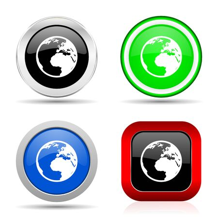 Earth red, blue, green and black web glossy icon set in 4 options