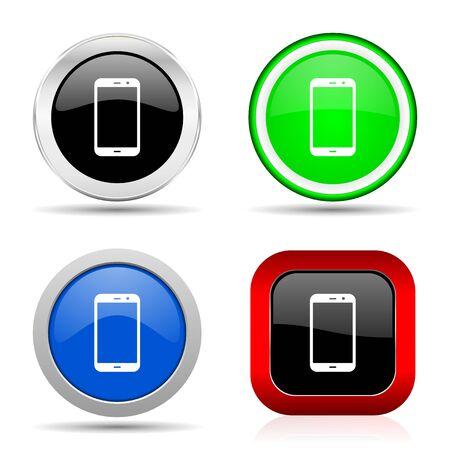 Icône de papier glacé web smartphone rouge, bleu, vert et noir définie en 4 options