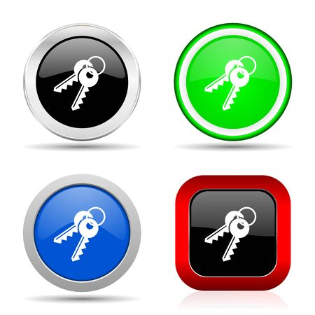 Keys red, blue, green and black web glossy icon set in 4 options