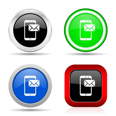 Mail red, blue, green and black web glossy icon set in 4 options Stock Photo