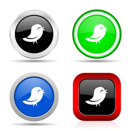 bird red, blue, green and black web glossy icon set in 4 options Stockfoto
