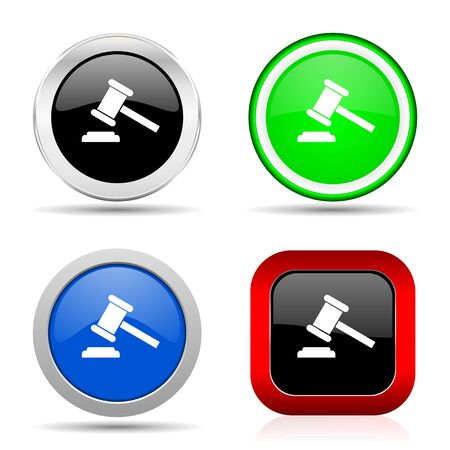 Auction red, blue, green and black web glossy icon set in 4 options Imagens