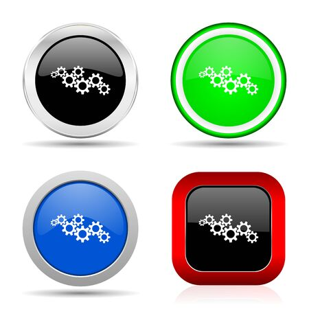Cogwheel engineering red, blue, green and black web glossy icon set in 4 options