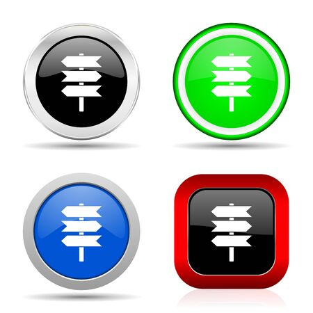 Signpost, information, post red, blue, green and black web glossy icon set in 4 options