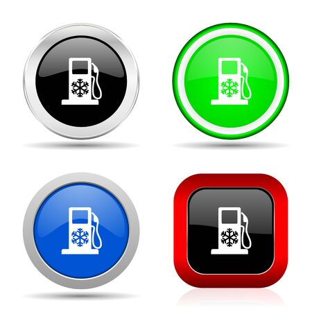 Winter fuel red, blue, green and black web glossy icon set in 4 options