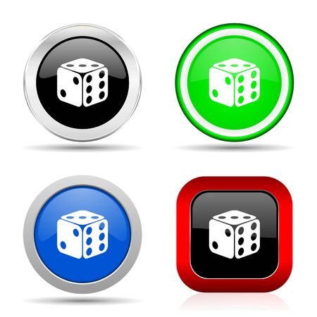 Dice, game, casino red, blue, green and black web glossy icon set in 4 options 스톡 콘텐츠