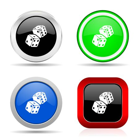 Dice, casino red, blue, green and black web glossy icon set in 4 options