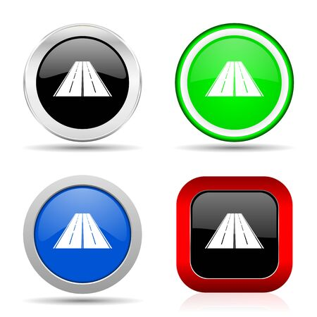 Road red, blue, green and black web glossy icon set in 4 options