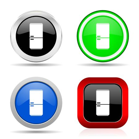 Fridge, refrigerator red, blue, green and black web glossy icon set in 4 options