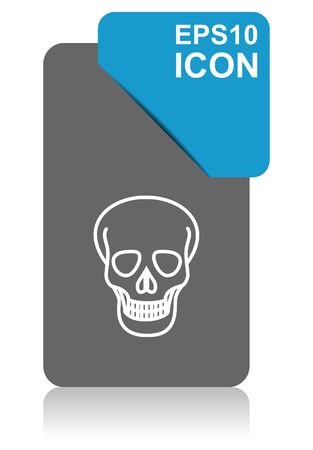 Skull black and blue vector pointer icon on white background in eps 10 Иллюстрация
