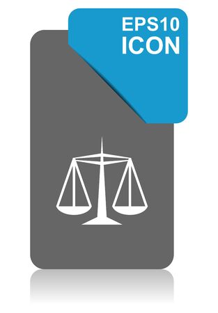Justice black and blue vector pointer icon on white background in eps 10