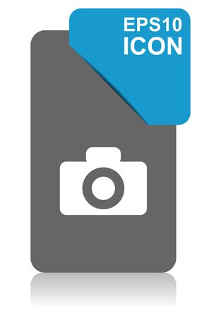 Camera black and blue vector pointer icon on white background in eps 10 Иллюстрация