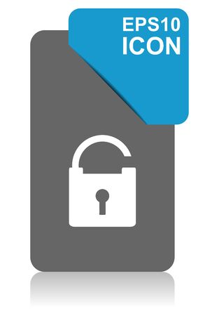 Padlock black and blue vector pointer icon on white background in eps 10