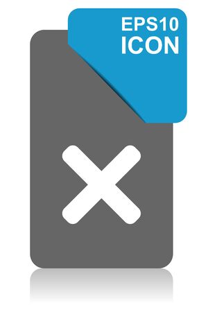 Cancel black and blue vector pointer icon on white background in eps 10