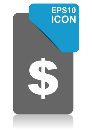 Dollar black and blue vector pointer icon on white background in eps 10