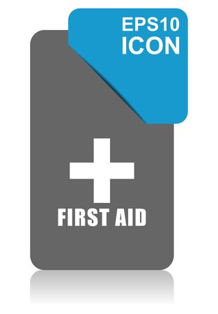 First aid black and blue vector pointer icon on white background in eps 10