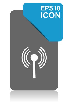 Wifi black and blue vector pointer icon on white background in eps 10