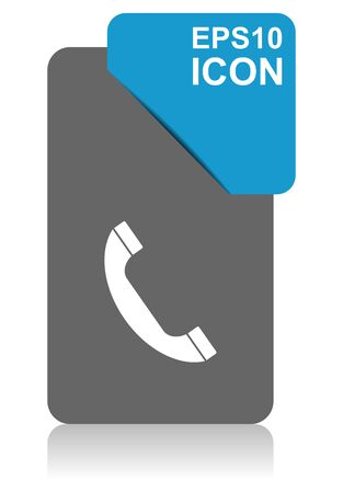 Phone black and blue vector pointer icon on white background in eps 10