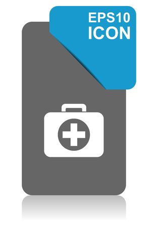 First aid black and blue vector pointer icon on white background