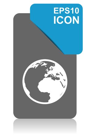 Earth black and blue vector pointer icon on white background in eps 10
