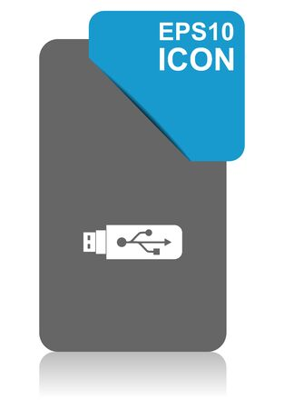Usb black and blue vector pointer icon on white background in eps 10 Иллюстрация