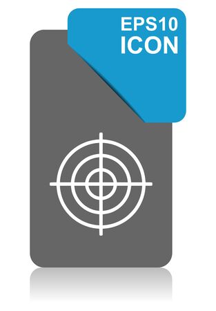 Target black and blue vector pointer icon on white background