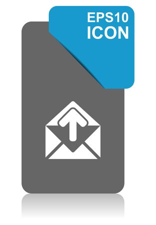 Email black and blue vector pointer icon on white background